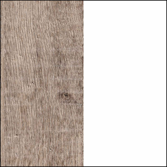 Pure White and Weathered Oak
