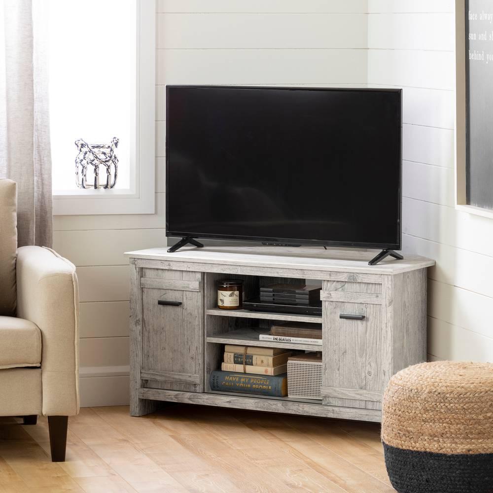 Meuble Tv Avec Cache Fils exhibit meuble tv en coin pour tv jusqu'à 42'' south shore