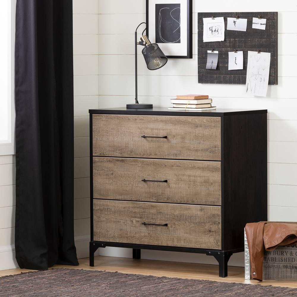 Commode Chambre Style Industriel valet commode de rangement 3 tiroirs south shore | meubles