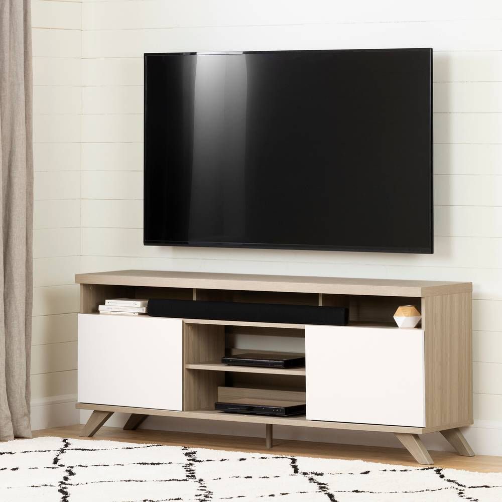 Meuble Tv Avec Cache Fils cinati meuble tv scandinave avec portes pour télé jusqu'à 75