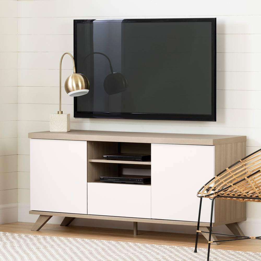 Meuble Tv Avec Bibliothèque cinati meuble tv scandinave avec tiroir et portes pour télé