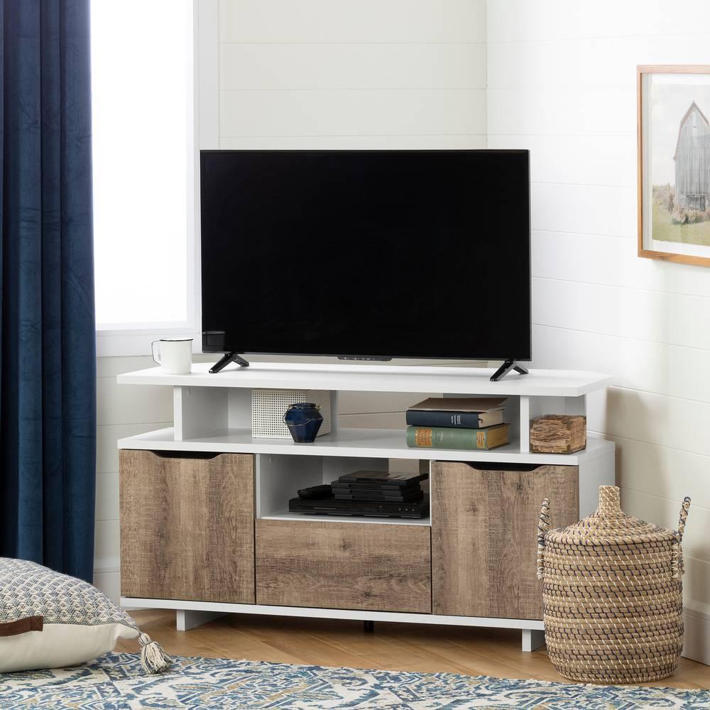 Meuble Tv Avec Bibliothèque reflekt meuble tv en coin pour tv jusqu'à 55'' south shore