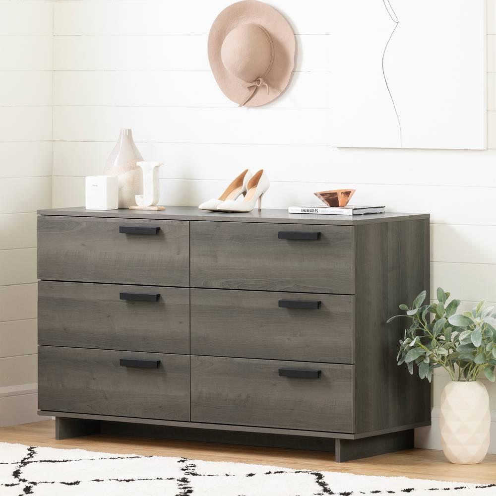 South Shore Cavalleri 6 Drawer Double Dresser in Gray Maple