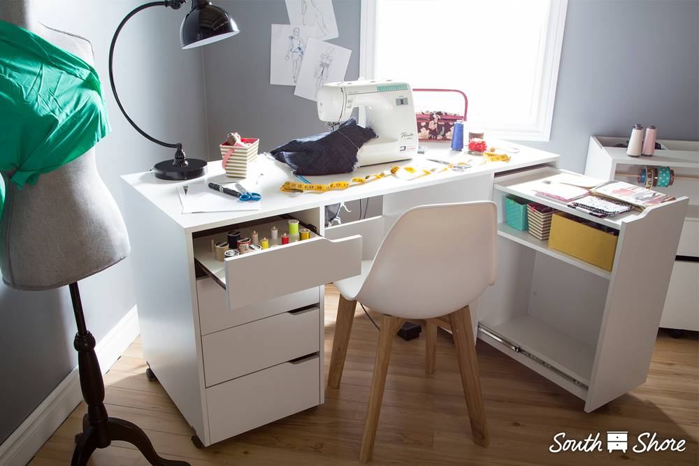 Sewing Table On Wheels.South Shore Crea Sewing Craft Table On Wheels South