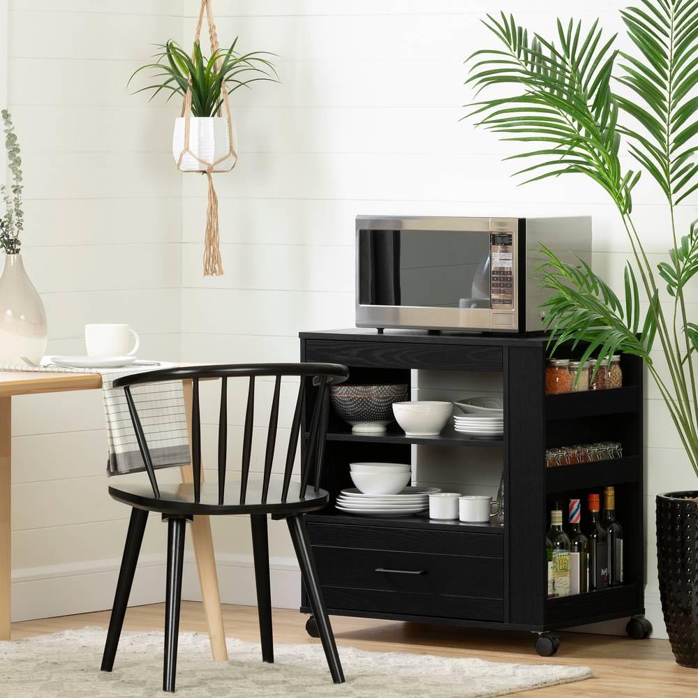 vietti rangement micro ondes sur roulettes avec tiroir. Black Bedroom Furniture Sets. Home Design Ideas