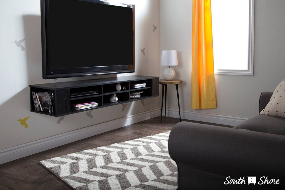 South Shore City Life Wall Mounted Media Console 66 Wide Extra