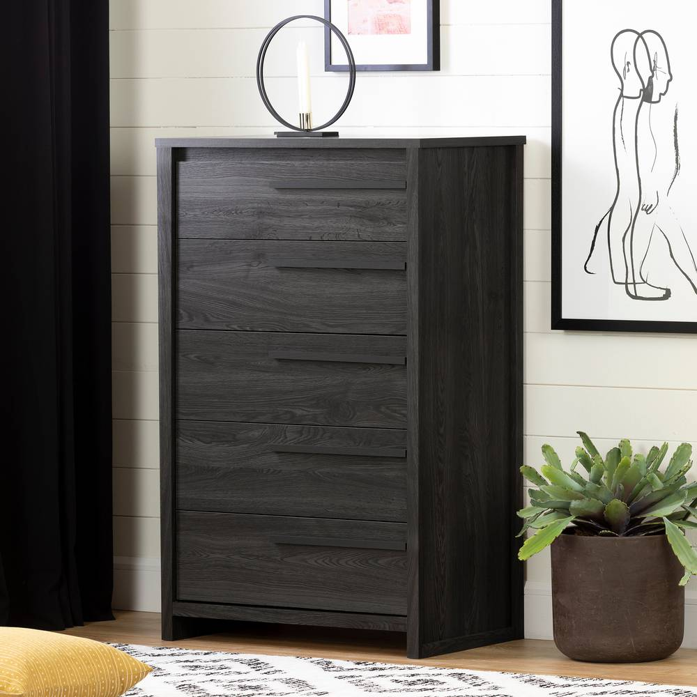 Tall Oak Effect Chest 5 Drawers Wooden Cabinet Bedroom Modern Table Metal Handle