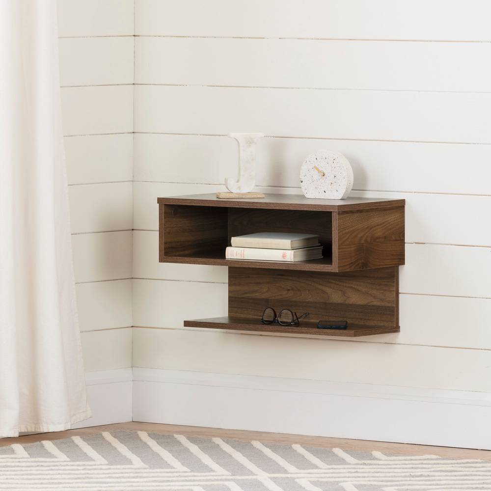 South Shore Furniture 12504 Sazena Floating Nightstand-Weathered Oak